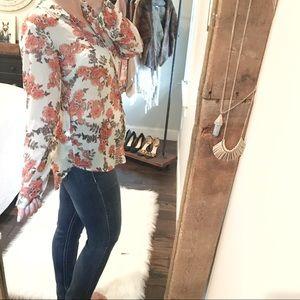 A new day medium boho hi low floral sheer blouse
